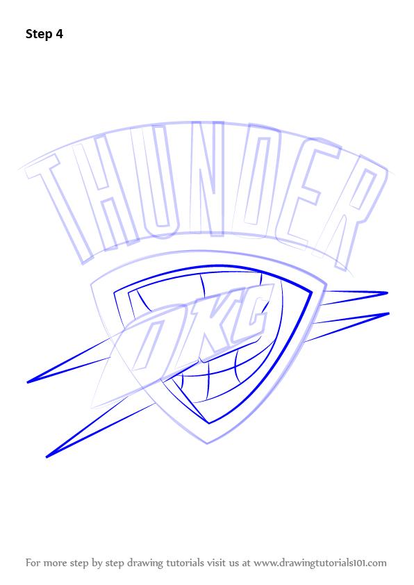 596x842 Learn How To Draw Oklahoma City Thunder Logo (Nba) Step By Step