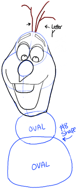 300x733 How To Draw Olaf The Snowman From Disneys Frozen Drawing Tutorial