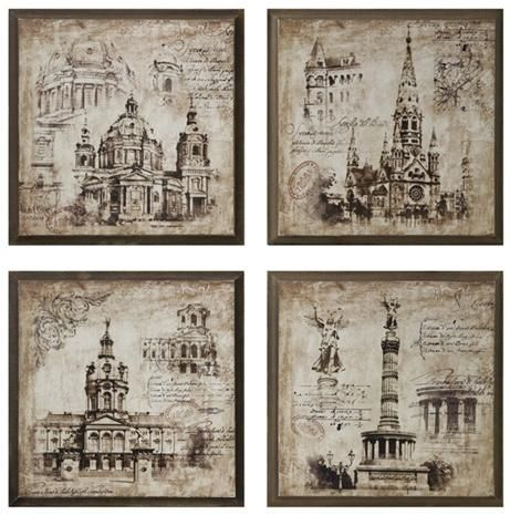 461x465 Old World Architectural Drawing Prints Home Interior Design