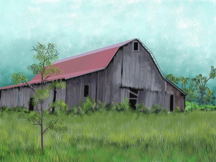 720x540 Old Kentucky Barn A Landscape Speedpaint Drawing By Kutedymples