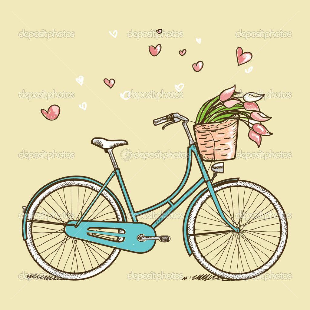 1024x1024 Bicicleta Vintage Con Flores Imagen De Stock Illustrations