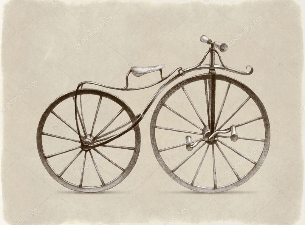 1023x757 Pencil Drawing Of Retro Bicycle Stock Photo Sashsmir