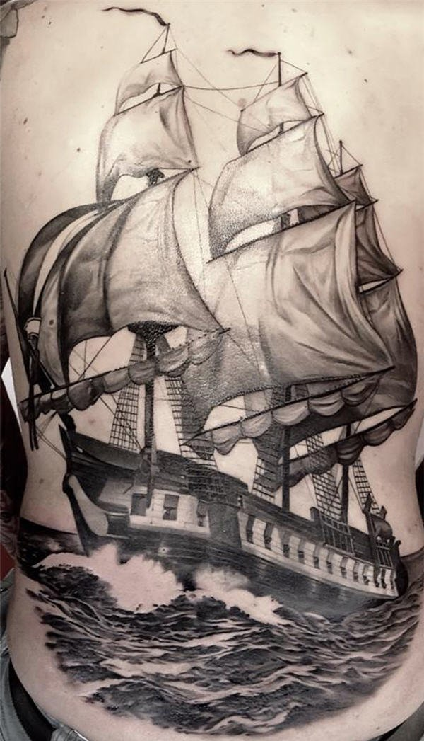 600x1047 Amazing Old Boat Anchor Art Tattoo Design Idea For Men And Women