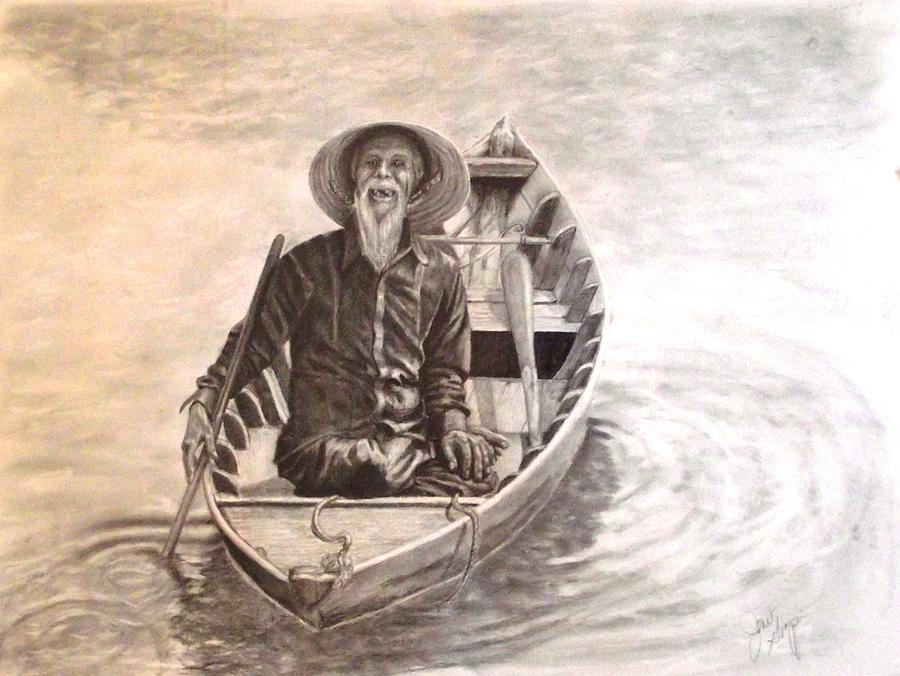900x676 Old Man In A Boat Hoi An Vietnam Drawing By Janet Grappin