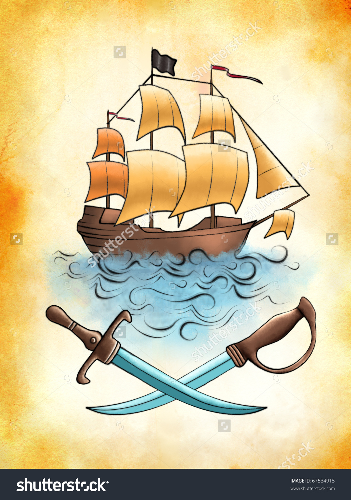 1125x1600 Old Pirate Ship Drawing Pirate Ship Drawing On Old Piece Stock