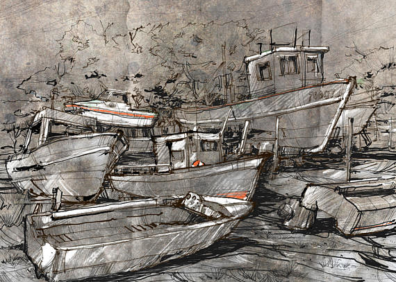 570x407 Old Boats Drawing Harbor Sketch Marine Scenery Ruined
