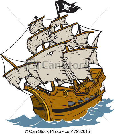402x470 Old Weathered Pirate Ship Cartoon Vector Clip Art