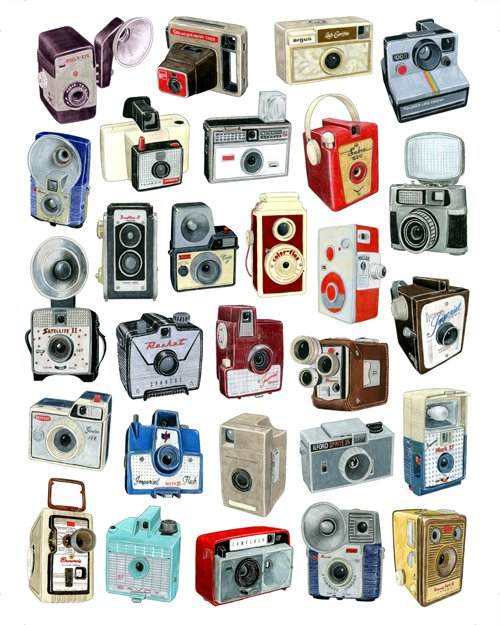 500x625 28 Drawings Of Vintage Camera Models From Days Gone By