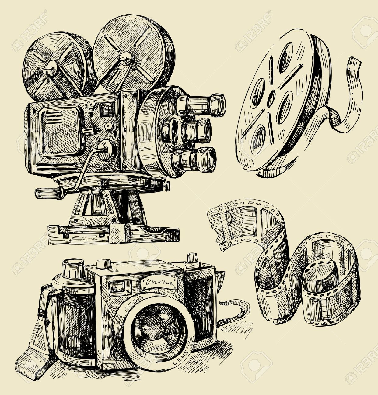 1242x1300 Cameras Hand Drawn Royalty Free Cliparts, Vectors, And Stock