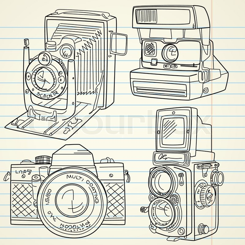 800x800 Cool Hand Drawn Old Camera Set, All Time Legends Stock Vector