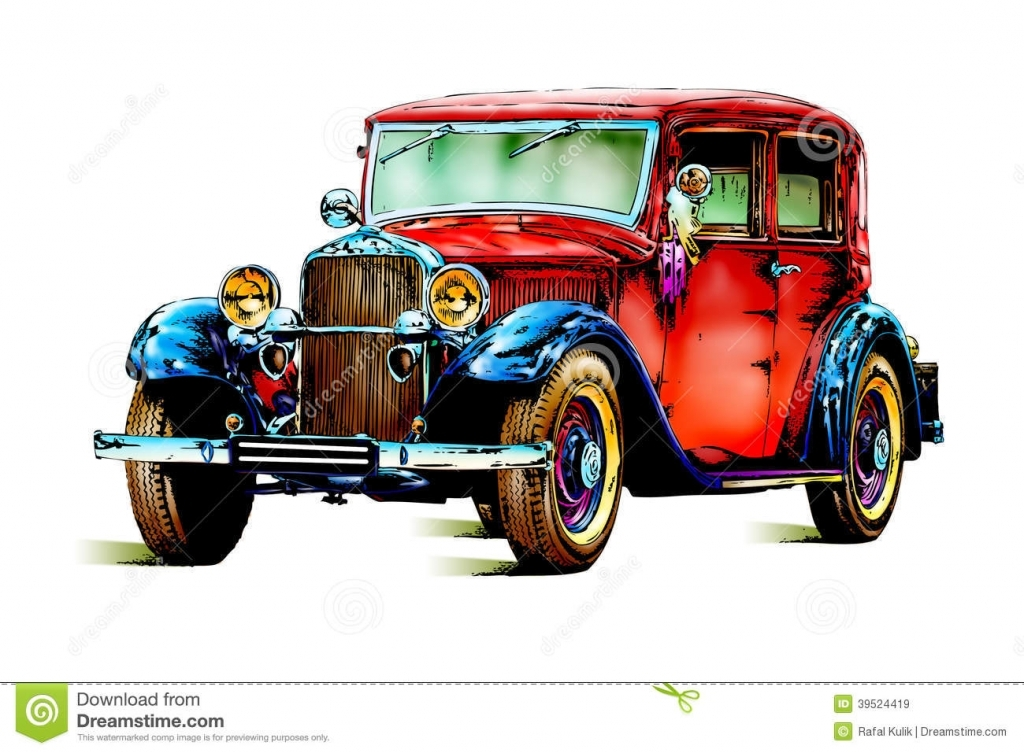 1024x753 Old Car Drawings In Pencil Old Classic Car Retro Vintage Stock