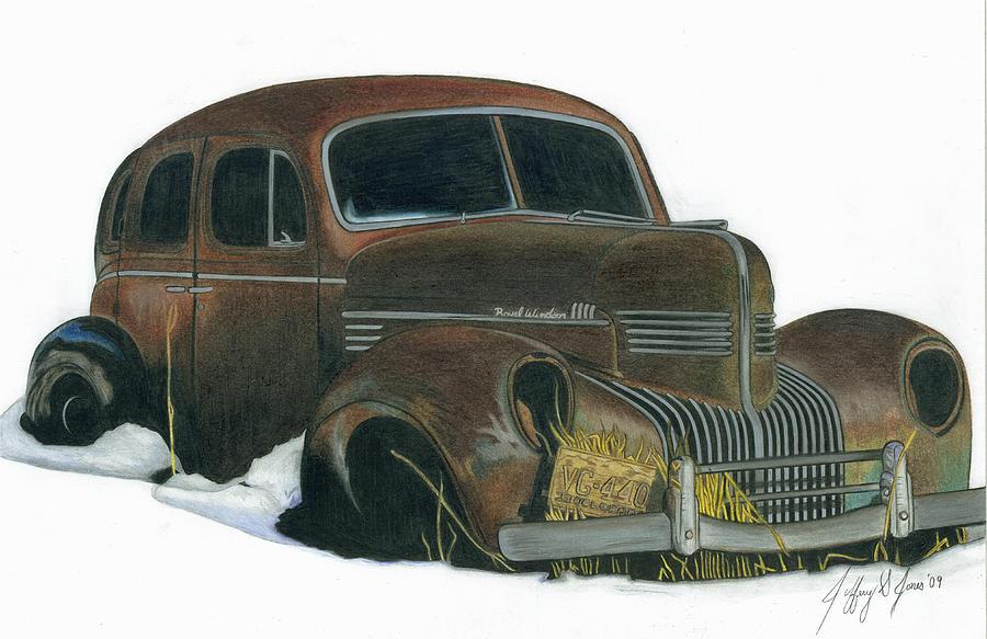 900x583 Old Windsor Car Drawing By Jeffery Jones