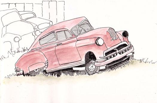 525x346 Urban Sketchers Texas Old Car Graveyard