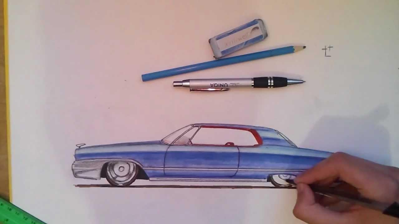 1280x720 Classic Car Drawing