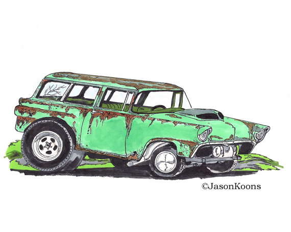 570x456 Items Similar To Ford Station Wagon 8x10 Drawing Print, 1950 Old