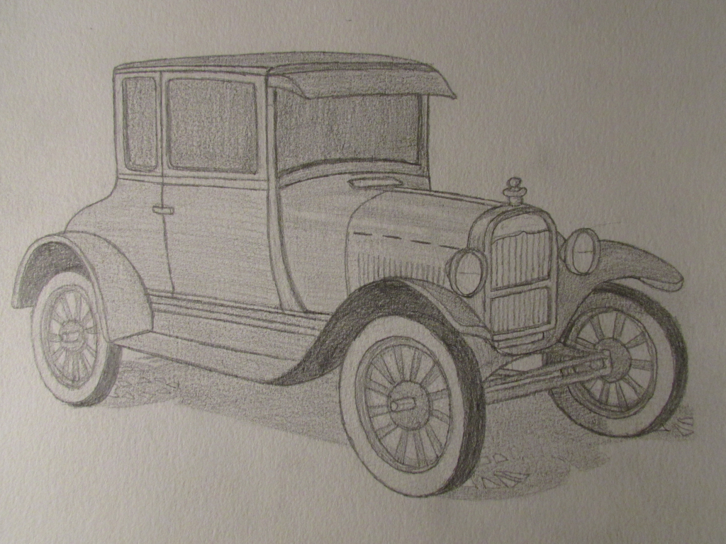1024x768 Old Cars Sketches