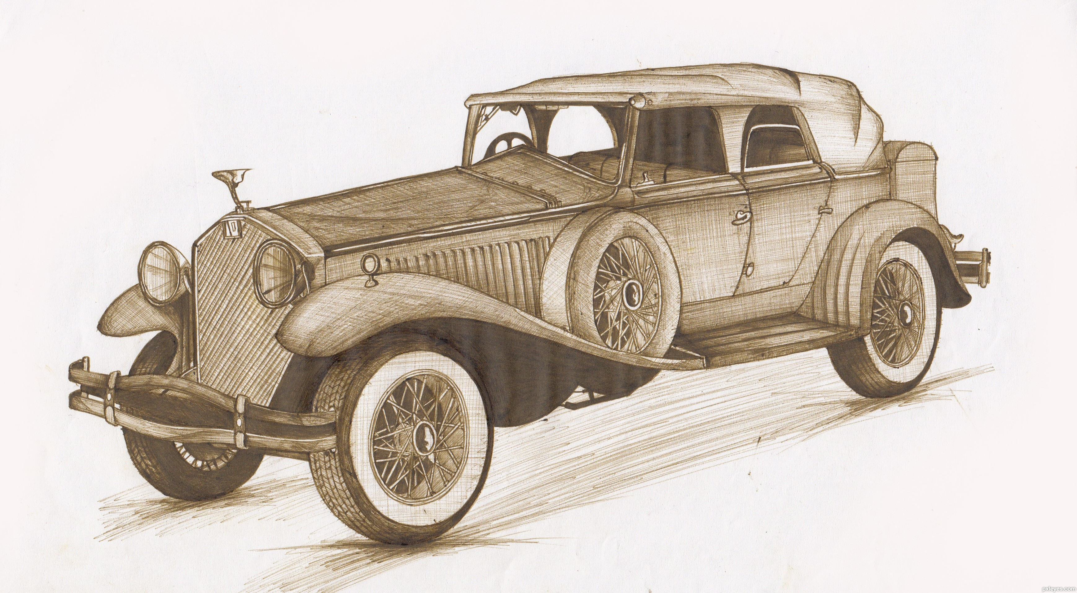 3476x1914 Old Memories Picture, By Lky For Vintage Vehicles Drawing Contest