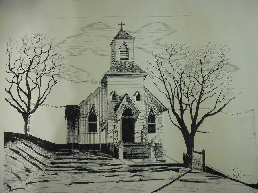 900x675 100 Year Old Church Located In Pocahontas Va Drawing By Steven Cox