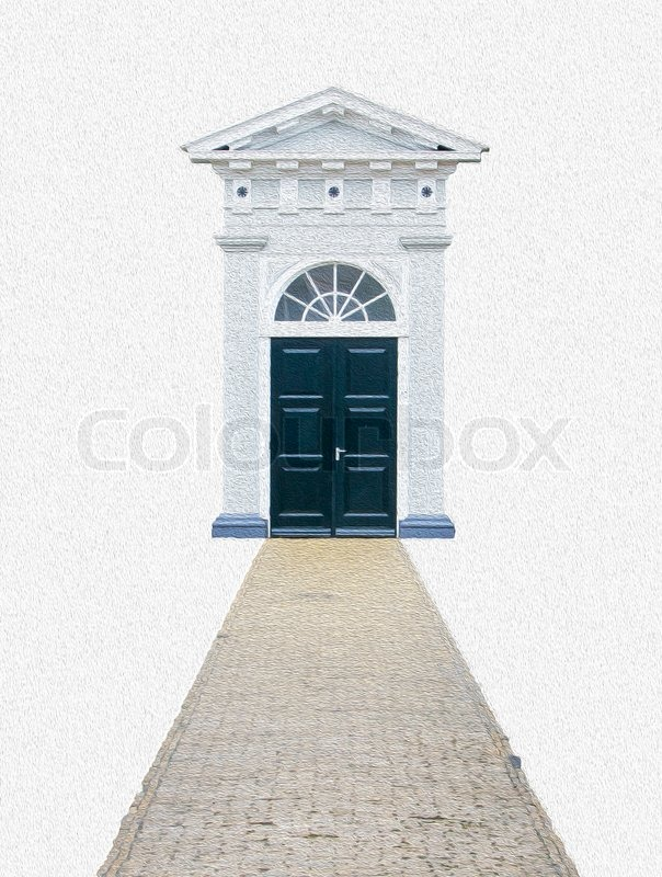 604x800 Computer Generated Drawing Of An Entrance Of An Old Church Stock