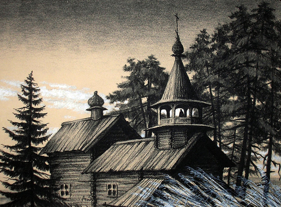 900x665 Old Church Drawing By Aleksey Zuev