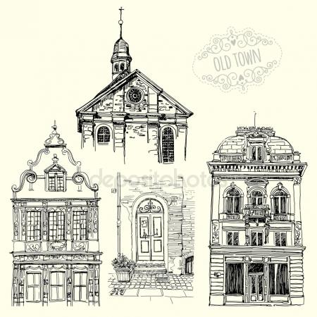 450x450 Old Church Sketch. Artistic Drawing For Printing Stock Vector