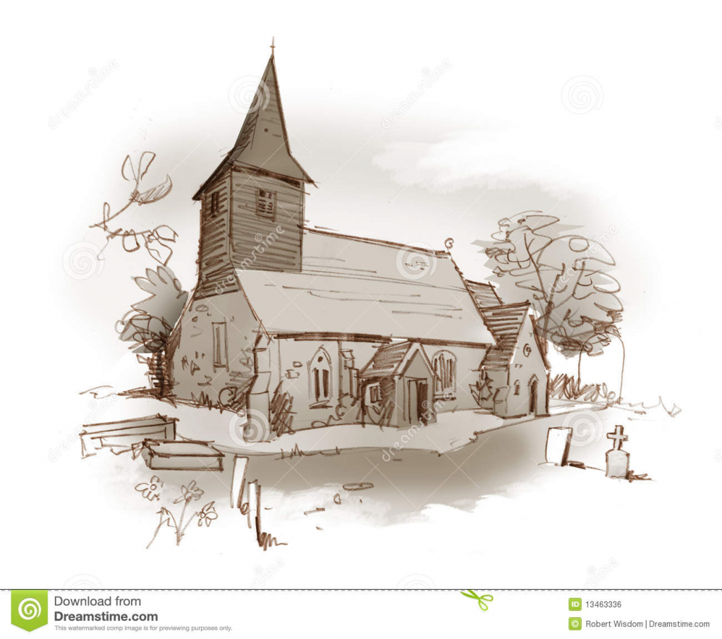 1024x907 Pencil Drawings Of Churches Church Pencil Sketch Stock Photos