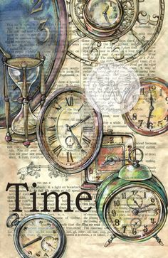 236x363 Time Old Clock Face Mixed Media Drawing On Distressed, Dictionary