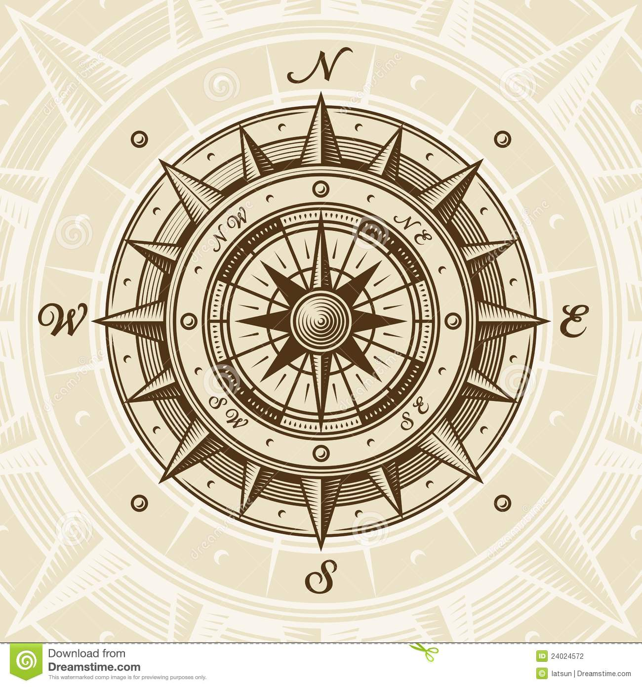 1300x1390 Old Compass Rose Vintage In Woodcut Style Vector
