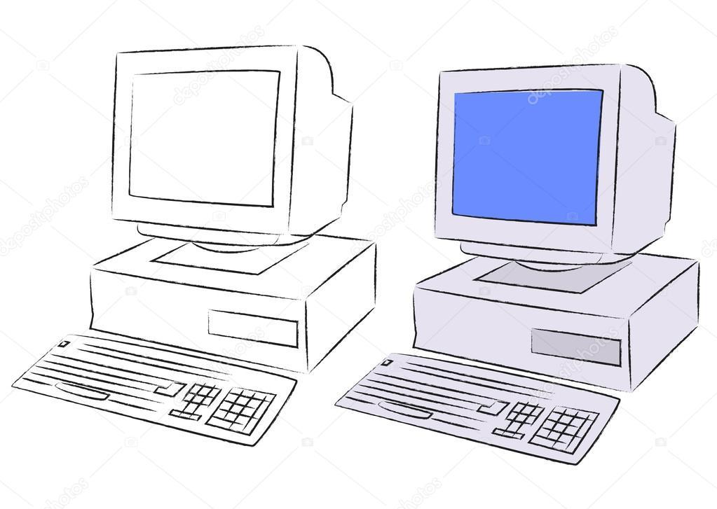 1023x727 Old Desktop Computer Stock Vector Mrhighsky