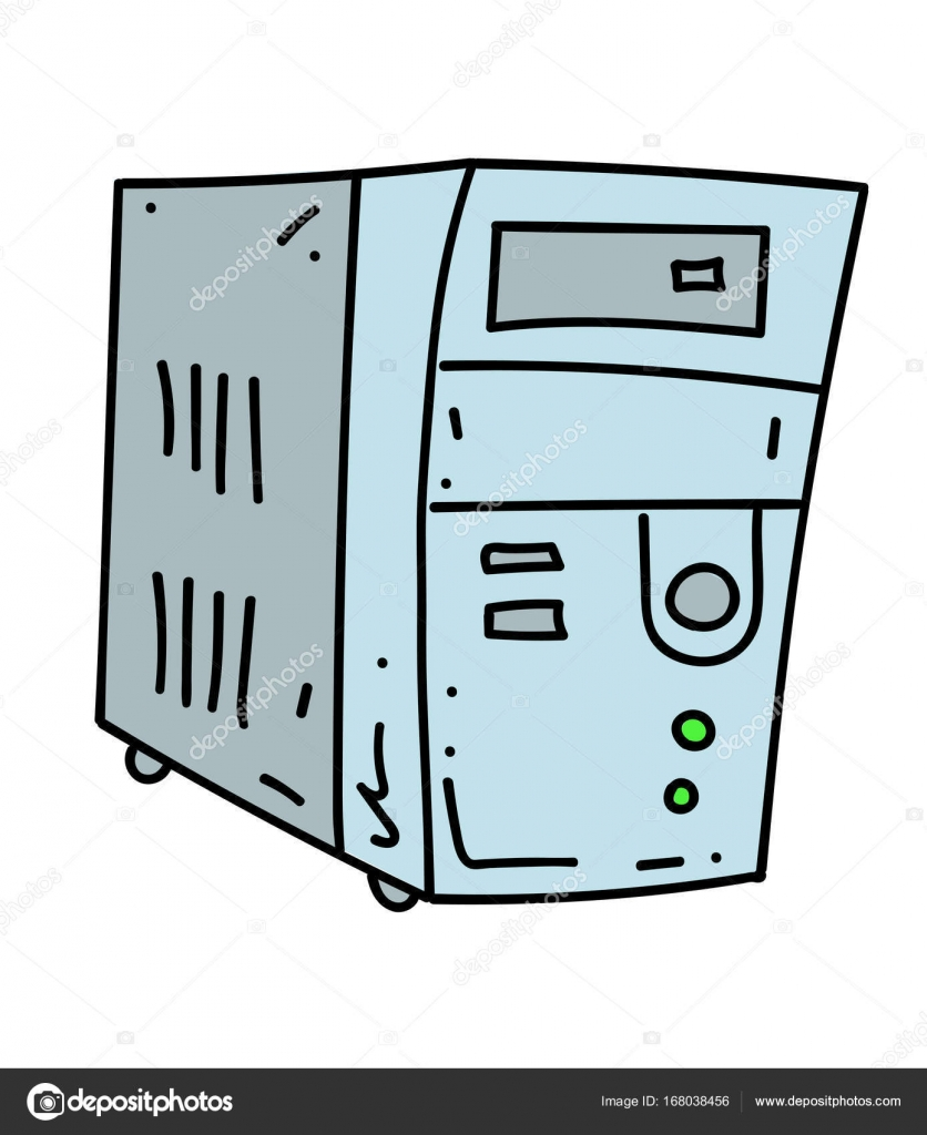 836x1024 Old Computer Cartoon Hand Drawn Image Stock Vector Lkeskinen0