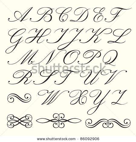 450x470 Old Handwriting Styles English Hand Drawn Script Alphabet