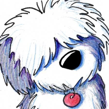 450x450 Original Art Old English Sheepdog Dog Breed Aceo English