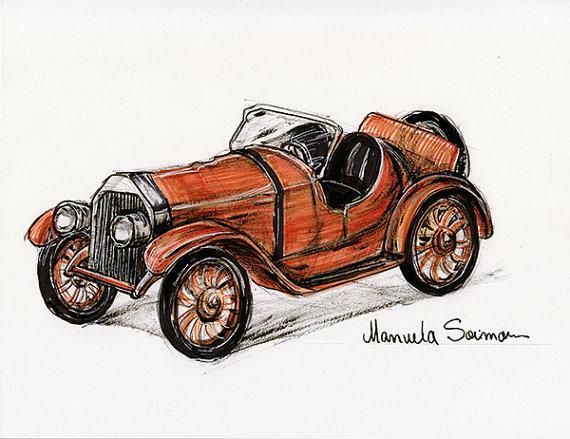 570x439 Classic Car Classic Ford 1920s Original Art Print Free