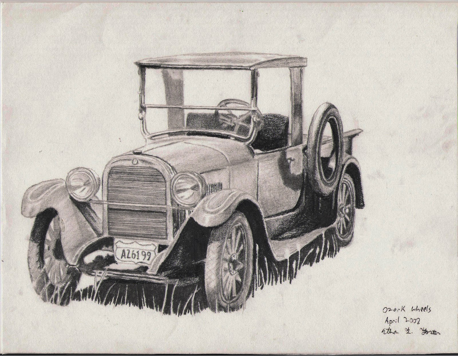 1600x1243 Old Forest Service Car, In Hb, B3, And Mech. Pencil E.t. Foster