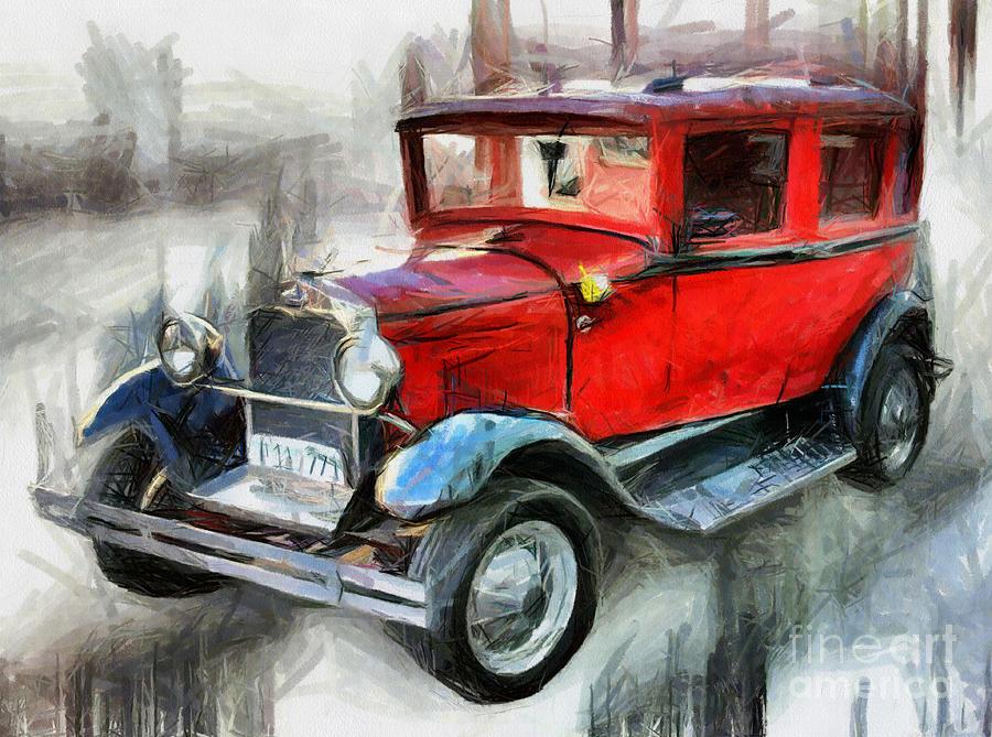 900x669 Red Vintage Car