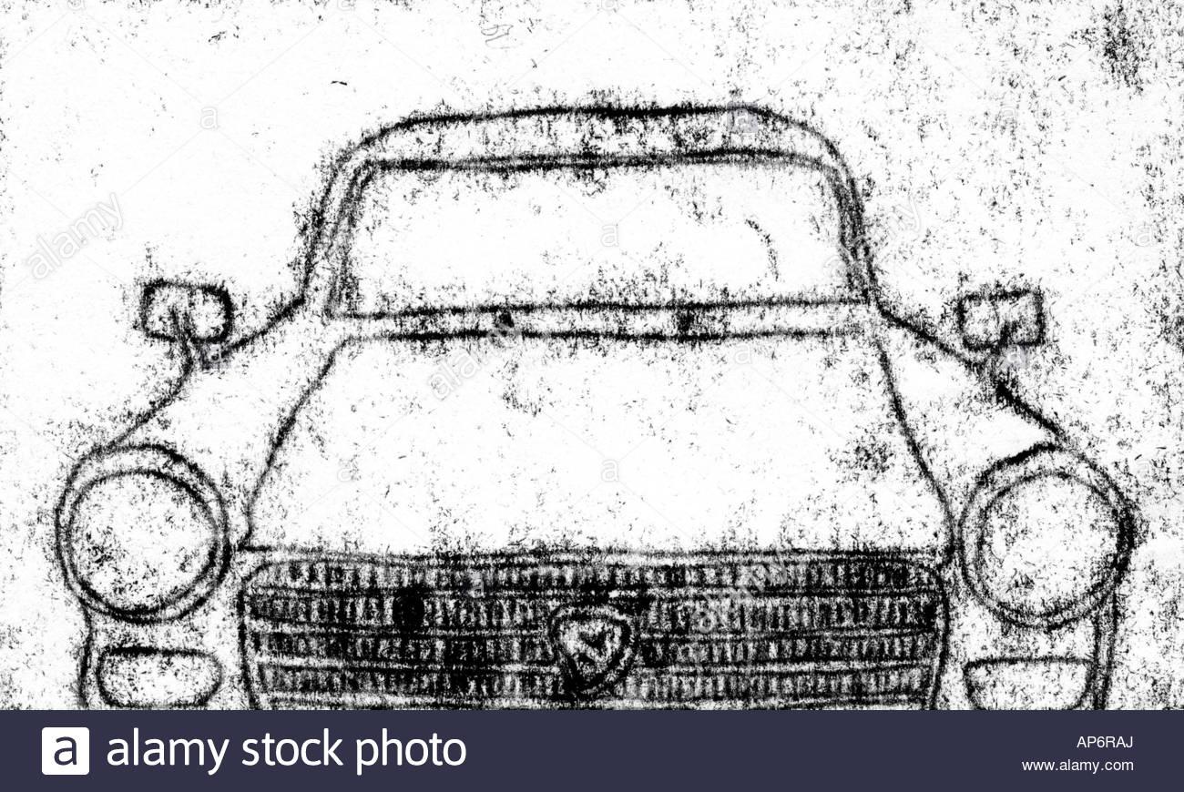 1300x870 Car Front Drawing Peugeot Old Design Travel Light Print