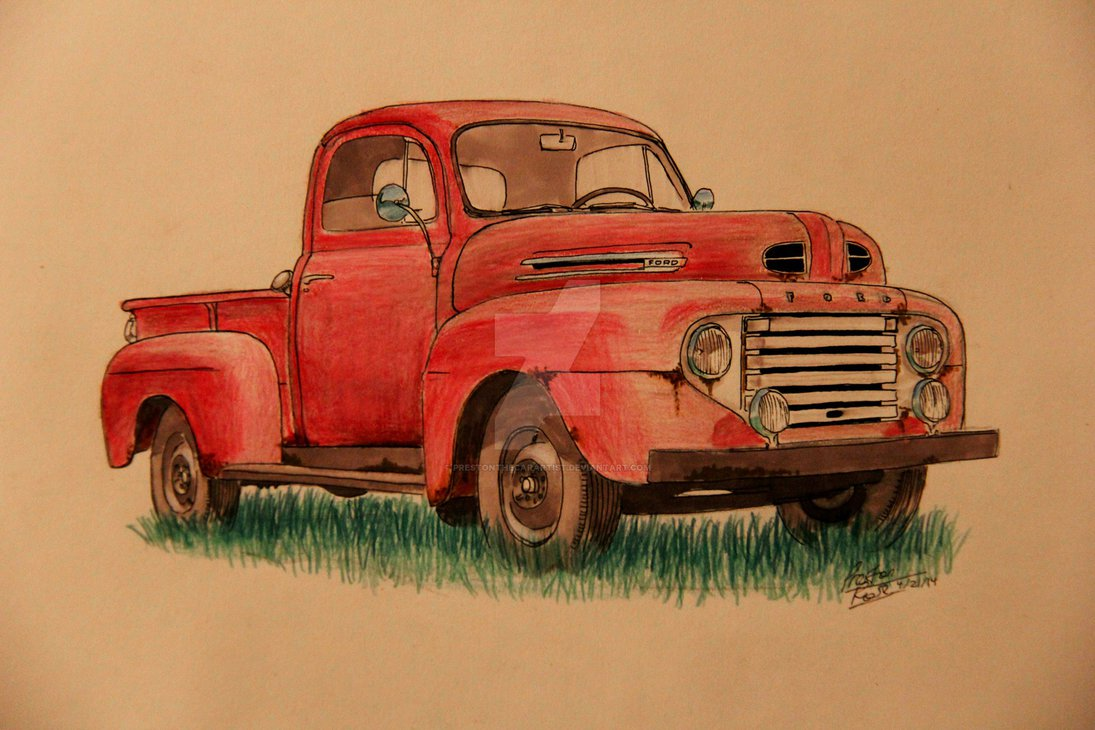 1095x730 1949 Ford Truck Drawing By Prestonthecarartist