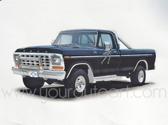 333x247 1979 Ford F150 Car Art Drawing Pickup Truck Art Drawings