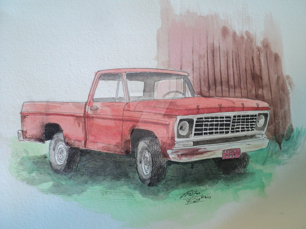 1024x768 Ford Farm Truck Watercolor By Prestonthecarartist