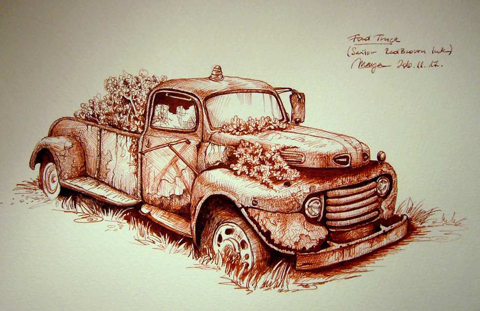 933x604 Rusty Ford Truck Old Ford Sketch Into Maruman F4 S84