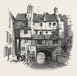 300x295 Lincoln Old Houses Uk Drawing By English School