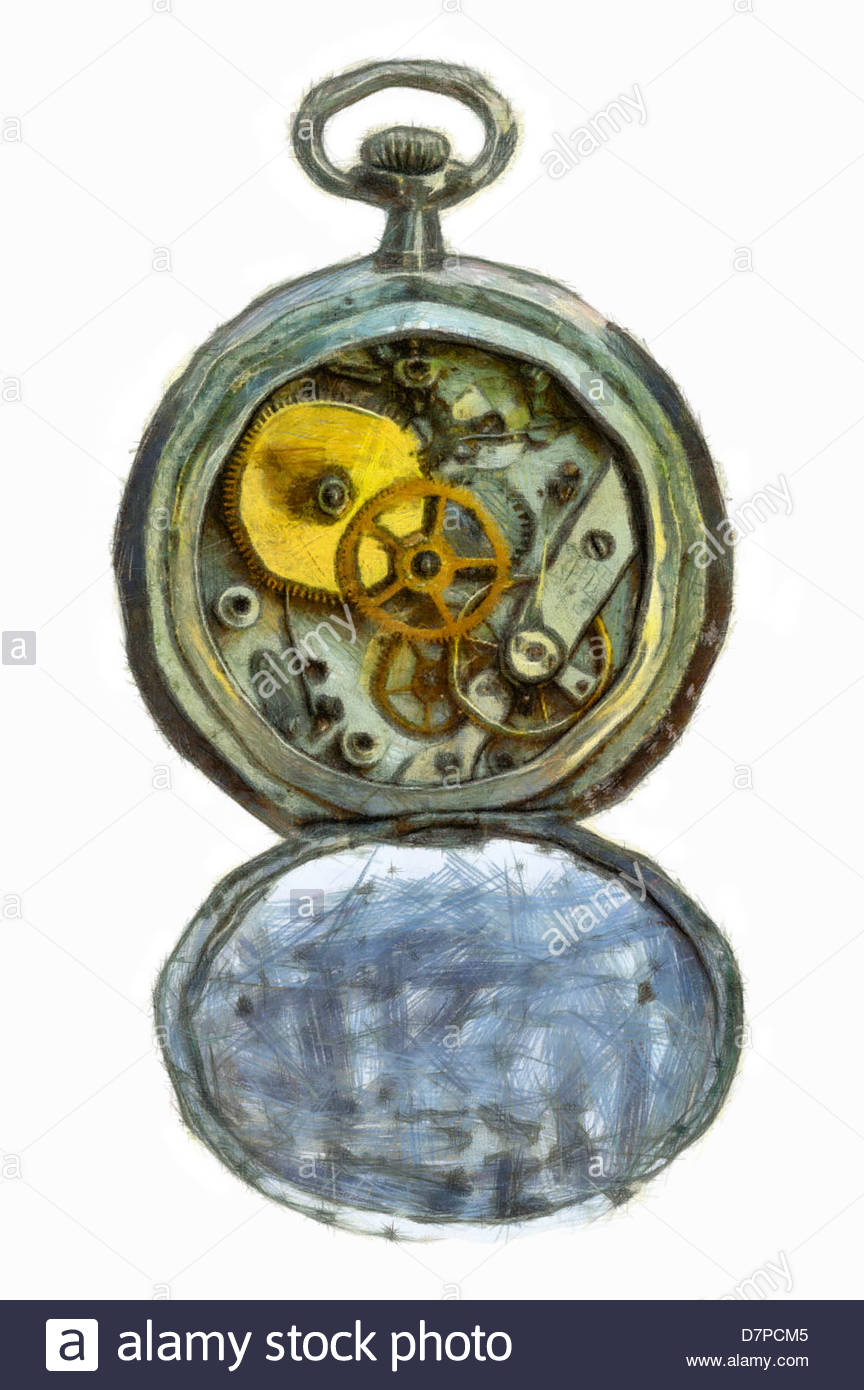 864x1390 Drawing Of The Old Pocket Watch Stock Photo, Royalty Free Image