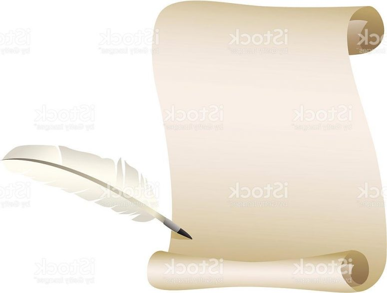 775x587 Best Scroll And Feather Pen Vector Drawing