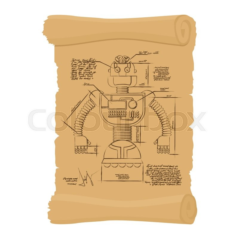 800x800 Old Drawing Robot On Scroll. Design Technological Devices