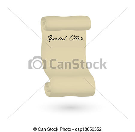 450x438 Special Offer With Old Scroll Paper On White Background Clipart