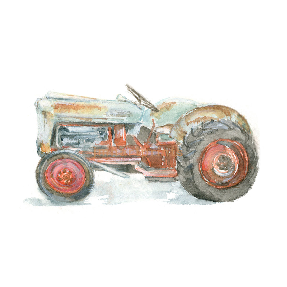 1200x1200 Watercolor Tractor Old Tractor Print Ford Tractor Print