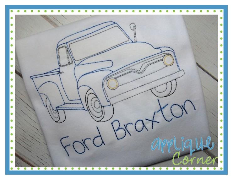 742x573 Applique Corner Applique Design Old Truck Sketch Embroidery Design
