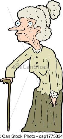 212x470 Cartoon Old Woman Eps Vector