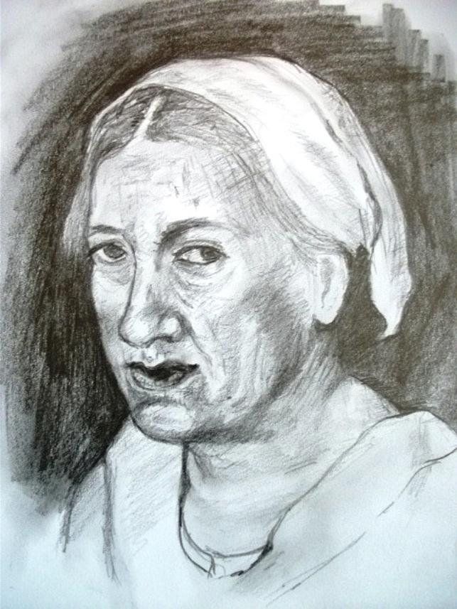 643x857 Of Old Woman Drawing By Covaliov Victor