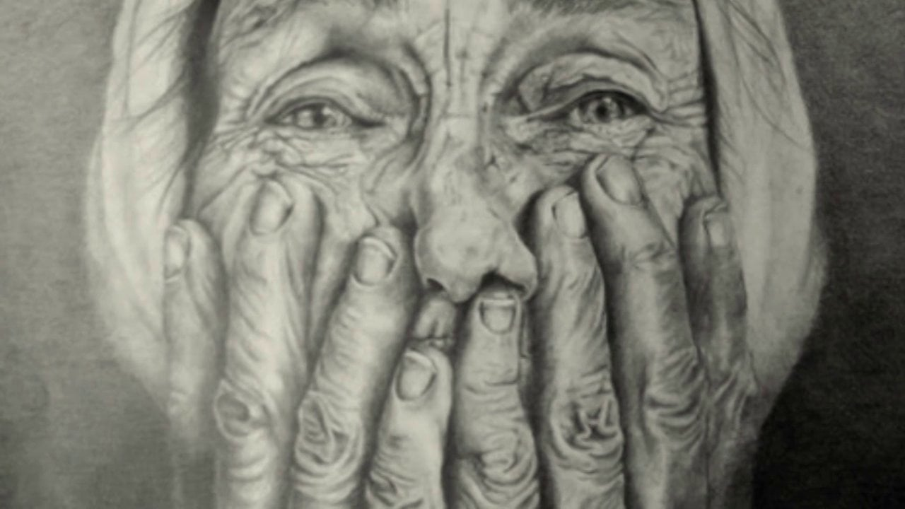 1280x720 Old Woman Charcoal Portrait Drawing On Vimeo